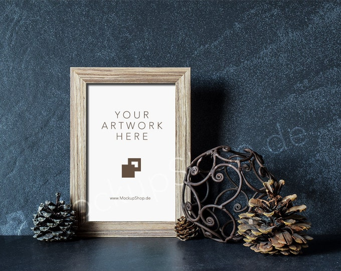 WINTER MOCKUP FRAME shabby brown / Frame Mockup Winter vintage / Merry Christmas Mockup / Merry Xmas Frame Mockup / Santa Claus Mockup