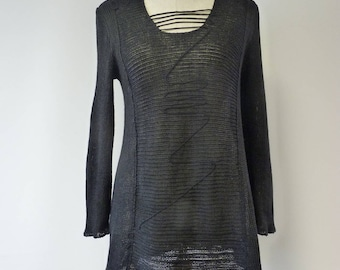 Special price. Casual black linen sweater, L size.