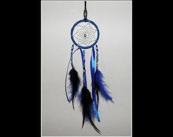 Small Dreamcatcher Evil eye Rearview mirror hanger with Evil Eye Beads to defense against Evil looks