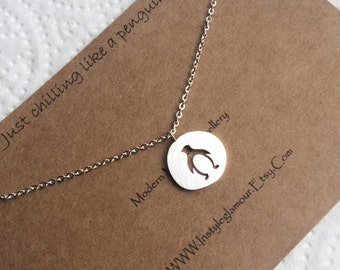 Penguin Necklace, Silver Penguin Necklace, Bird Necklace, Silver Bird Necklace, Disc Necklace