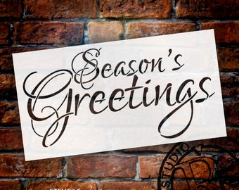 "Word Stencil - Season's Greetings - Elegant 16"" x 8"" SKU: STCL214"