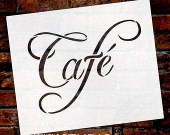 """Cafe Word Art Stencil-Swish Script - 6"""" X 5"""" - SKU:STCL822_1"""