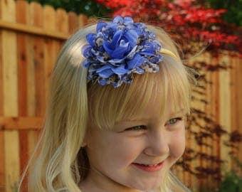Blue & Beige Girl's Floral Headband - Shabby Chic Women's Headband - Blue Hair Bow - Toddler Headbands - Satin Lined Headband - Flower Bows