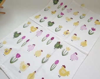 Easter Towel White with Yellow Green Pink Chickens and Pink Tulips Spring Flowers #2-21