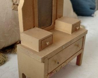 1920s Doll House Wooden Dresser Mirror Vintage 1930s Miniature Vanity Furniture
