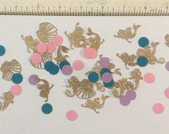 200 pieces mermaid confetti gold pink purple and teal