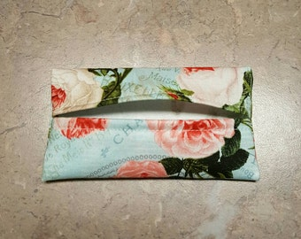 Pocket Tissue Holder, Travel Size Tissue Holder, Floral Fabric, Fabric Tissue Holder
