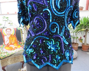 Vintage Laurence Kazar Beaded Top