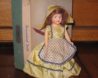 "1949 DREAMLAND DOLLS #500 ""Gretchen"" Plastic Doll with Box"