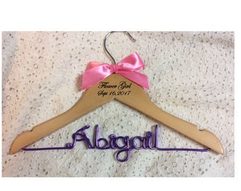 Flower girl hanger,Children hanger,wedding hanger,Personalized Hanger,,wire name hanger,Bridesmaids hanger
