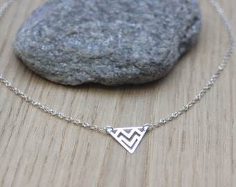 Sterling silver necklace pendant ethnic triangle - fine silver necklace - minimalist necklace - silver choker - triangle necklace