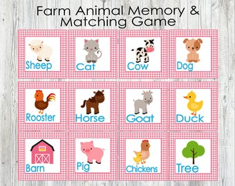 Pink Farm Animal Matching and Memory Game. Printable Game for Toddlers, Preschoolers, Kids. Flash Cards. Instant Digital Download
