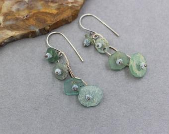 Ancient Roman Glass Earrings, Long Dangle Ancient Glass Earrings, Blue and Green Bohemian Earrings, Chandelier Earrings with Handmade Chain