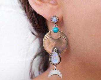 Chandelier earrings | turquoise earrings | statement earrings | drop earrings | moonstone earrings