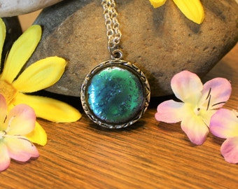 Handmade Pendant - Fused Glass Jewelry - Glass Necklace - Dichroic Glass