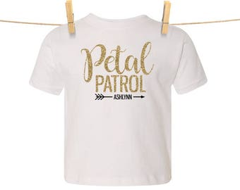 Glittery Petal Patrol {with Arrow and First Name} Tee | Flower Girl Shirt, Petal Patrol Shirt, Flowergirl Gift