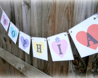 Pastel Heart Name Banner/Personalized/Girls bedroom decor/Garland/photo prop/nursery decoration/christening/naming ceremony/pastel