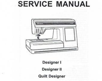 Husqvarna Viking Designer 1 I II 2 Quilt Designer Sewing Machine Service Repair Manual Book