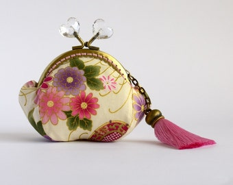 Hand crafted gold embossed Japanese coin purse with kiss lock frame and heart beads - collectable #0014