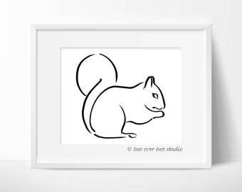 Squirrel Print, Squirrel Line Drawing, Minimalist Pen and Ink, Woodland Nursery Art, Forest Wall Art or Wildlife Decor