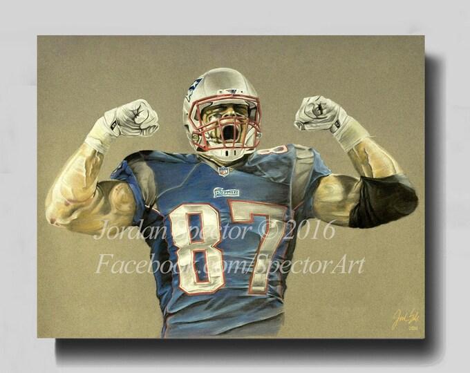 New England Patriots - Rob Gronkowski - Canvas Print - Patriot Wall Art - Gronk - Man Cave - Patriots Decor - Dorm Decor - Gifts for Him
