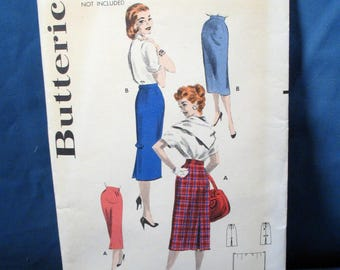 Vintage Butterick Sewing Pattern Misses Skirt, Waist 30 inches