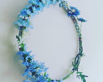 Blue Flower Floral Wreath