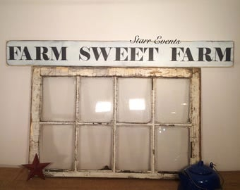 Farm Sweet Farm sign. 4 foot. Primitive sign for your country kitchen decor. Kitchen signs. Rustic signs. Distressed kitchen signs.