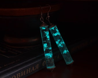 Cylinder glow in the dark earrings, Glowing earrings, Glow in the dark Jewelry, Dangle earrings