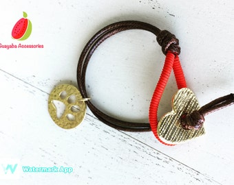 Handmade bracelet. Urban jewelry. Alternative jewelry. Red bracelet and Brown.
