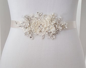 Floral Wedding Sash, Bridal Belt, Custom Wedding Belts and Sashes - Style 789