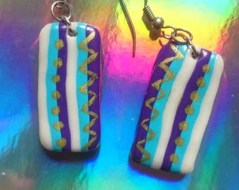 Funky 'UV Candy' painted bright clay fimo earrings