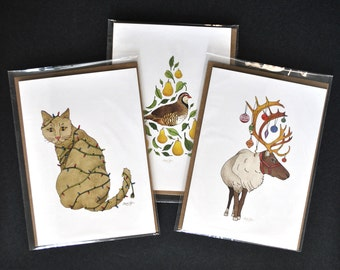 SET OF THREE! ~ Partridge in a Pear Tree, Meowy Catmas and Ornamental Reindeer! ~ Christmas Card, Eco Friendly, 100% Recycled Materials