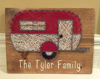 MADE TO ORDER Vintage Inspired Retro Camper String Art Sign With Family Name