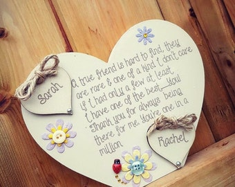 Personalised Wooden Standing Chunky Heart - Friend Gift
