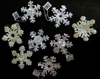 Sequin Snowflakes Set of Eight to Embellish Your Creations Supplies