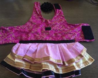 Triple layer pink dog dress