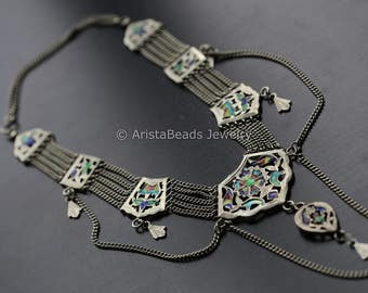 Vinatge silver necklace from Himachal Pradesh, India, Lachcha, Old indian tribal necklace, Vintage Silver Necklace ethnic tribal silver,