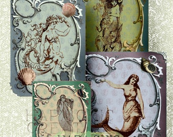 Printable  Art Cards  Gift Tags  Journal Cards Printable  Mermaids  Vintage  Mixed Media  Postcard  Digital  Shabby Chic  Ephemera Pack