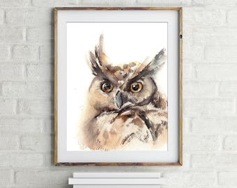 Owl art print, watercolor painting of owl, owl painting, watercolor print, owl wall art, bird painting