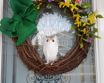 Spring Owl Grapevine Wreath