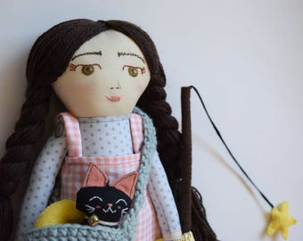 cloth doll, black cat and stars handmade ragdoll, handmade cloth doll, muñeca de trapo, muñeca de tela, heirloom doll