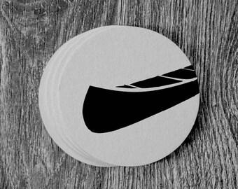 Canoe Silhouette - Letterpress Hand Printed Round Coaster - Set of 10 Coasters