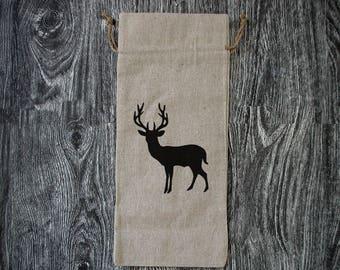 Deer Silhouette - Linen Wine Bottle Bag