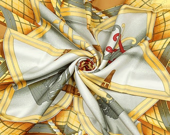 "HERMES SCARF Silk ""Grande Tenue"" by Henri d'Origny 90cm Carre 100% Auth"