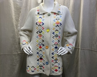 Embroidered Granny Cardigan, Vintage Knit Long Sleeve Meduim Large Collar