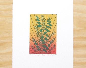 "Woodcut Print - ""To Soothe You"" - Eucalyptus Yoga Plant - Printmaking"