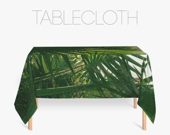 Tropical Tablecloth, Palm Leaves Photo, Palm Tree Tablecloth, Green Kitchen Decor, Large Table Cloth, Tropical Design