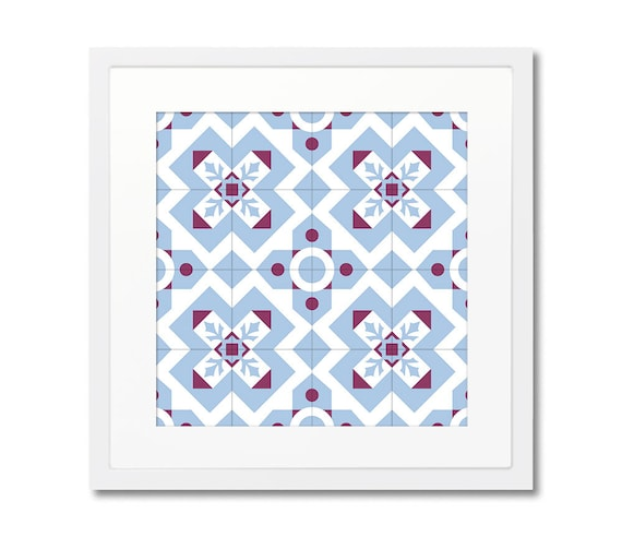 Modernist Print, Wall Art Prints, Framed Print, Ceramic Tile Art, Blue Geometric Print, Interior Design, Barcelona Tiles