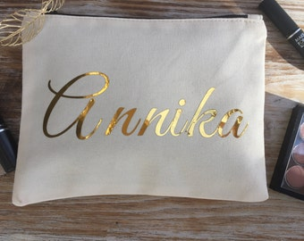 Personalized Cosmetic bag, make up bag, Bridesmaid Gift, Custom Make up bag, Custom Bridesmaid gift, Cosmetic bag, gold personalized bag